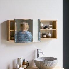 Scaffale con specchio in Teak Typo
