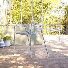 Sillón de jardín en metal Arty azúl gris