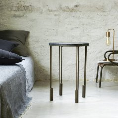 Simëon Metal and Marble Bedside Table