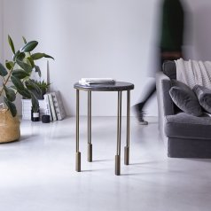 Simëon Metal and Marble Side Table