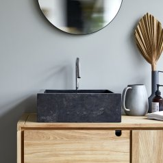 Slats dark Grey marble washbasin