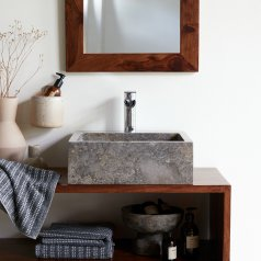Slats Marble Washbasin Grey
