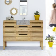 Slats Teak and Marble Wash Unit 125