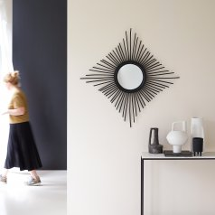Spiegel aus Rattan 80 Isidore schwarz