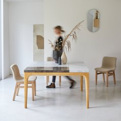 Stonepiet table in oak and marble 131 cm