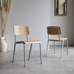 Stuhl aus Metall und Walnuss Mio grau blau