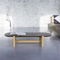 Table basse Stoneleaf en chêne et marbre 130x45