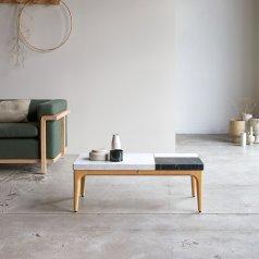 Table basse Stonepiet en chêne et marbre 95x40