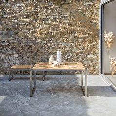 Table de jardin en teck et inox 150 Arno