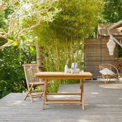 Table de jardin pliable en teck 120 Capri
