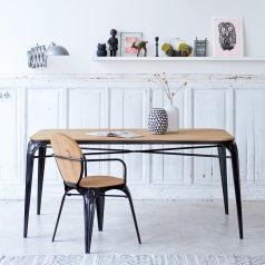 Table en métal et saule 170x90 Sam noire