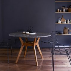 Table en teck et terrazzo 120 Juno