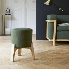 Tabouret Drum dark green en chêne