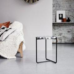 Tavolino da fianco divano in metallo e pietre 40 Unik