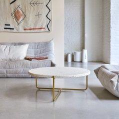 Tavolino in metallo e battuto di terrazzo 80 Anatole confetti