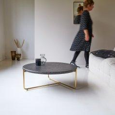 Tavolino in metallo e battuto di terrazzo 80 Anatole grey
