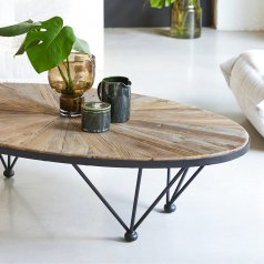 Tavolino in Metallo e Olmo 140x80 Lancelot