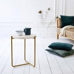 Tavolino laterale in metallo e battuto di terrazzo 40 Anatole confetti