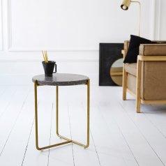 Tavolino laterale in metallo e battuto di terrazzo 40 Anatole grey