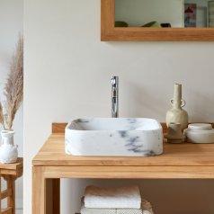 Waschbecken aus Marmor Perseus weiß