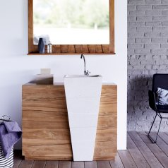 Waschtisch aus Teak mit Terrazzo Washbecken 100 Icone