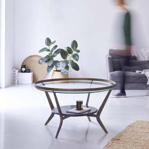 Ambre Marble and Metal Coffee Table 80