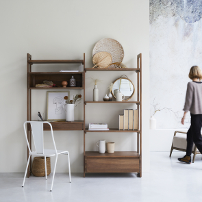 Bücherregal aus Walnuss 165x180 Wall