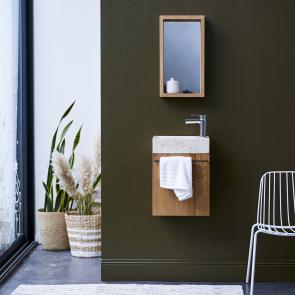 Badunterschrank Teak mit Marmor Waschbecken Stelle creme