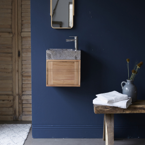 Basic Teak and Marble Vanity Cabinet Grey