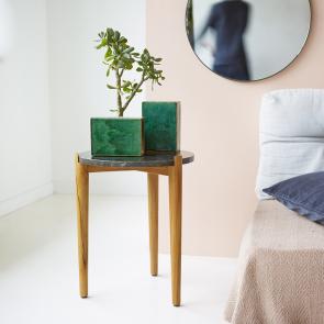 Bout de canapé en teck et marbre 40 Nestor black
