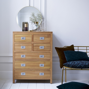 Coffee Tek Teak Chest of 7 Drawers