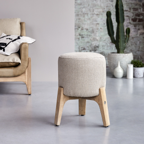 Drum Oak and Linen Stool