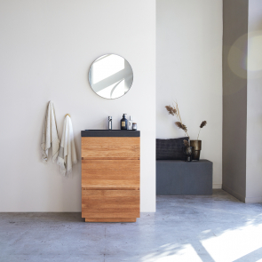 Karl Oak Vanity Cabinet with Lava Stone Washbasin 60