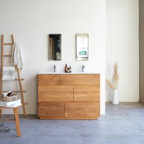 Meuble Salle de bain en chêne et céramique 120 Karl