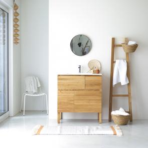 Mobili da bagno in quercia con lavabo in ceramica Easy 80