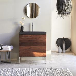 Mueble de baño en palisandro y lavabo en piedra de lava 80 Nova
