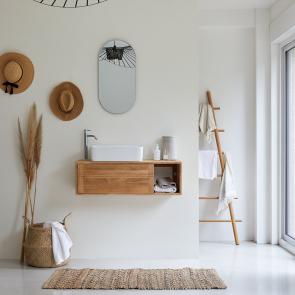 Mueble de baño suspendido en teca 95 Basic