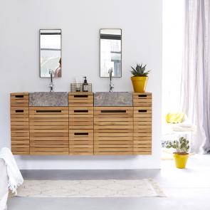 Mueble de baño suspendido en teca con lavabo de mármol 150 Slats