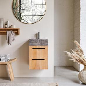 Mueble de baño suspendido en teca con lavabo de mármol 40 Line