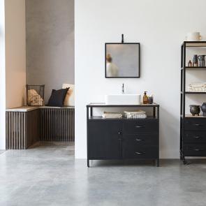 Mueble de lavabo en metal y madera oscura de mango 95 Industriel