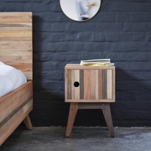 Nachtschrank aus recyceltem Holz Brooklyn