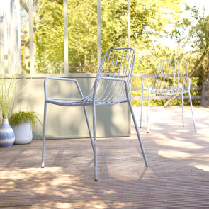 Outdoor Lehnstuhl aus Metall Arty bleu grey