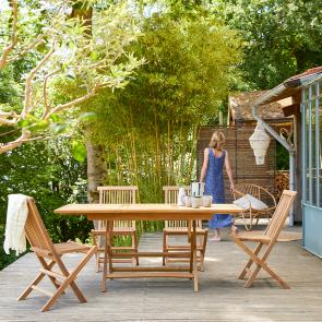 Outdoor Sitzgruppe aus Teak 120 mit 4 Stühlen Capri