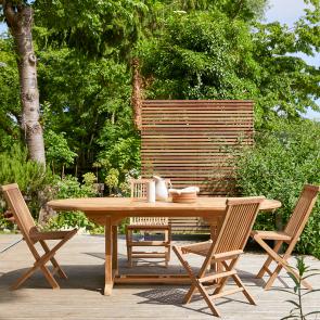 Outdoor Sitzgruppe aus Teak mit ovalem Tisch und 4 STühlen Capri
