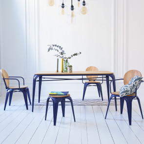 Sam Willow and Metal Dinner Table 170x90 navy