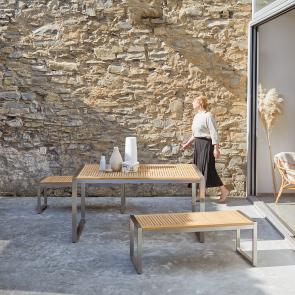 Set pranzo da giardino in teak e inox Arno 8 posti