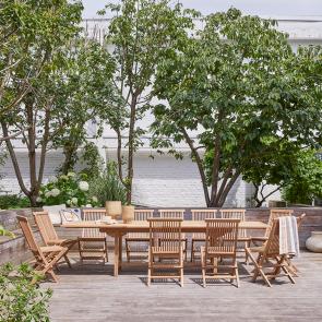 Set pranzo da giardino rettangolare in teak Capri 12 sedie