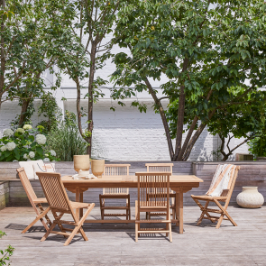 Set pranzo da giardino rettangolare in teak Capri 6 sedie