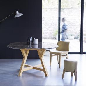 Table Stoneleaf en chêne et marbre 130