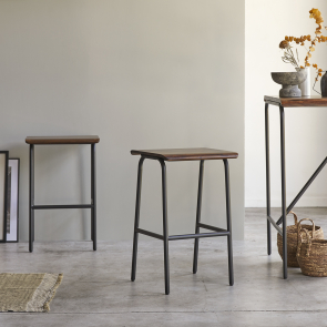 Talia Metal and Rosewood Bar Stool